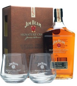 GIFT WHISKY JIM BEAM SIGNATURE CRAFT + 2 BICCHIERI