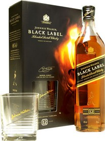 GIFT WHISKY JOHNNIE WALKER BLACK LABEL + 2 BICCHIERI